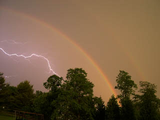 double rainbow with lightning