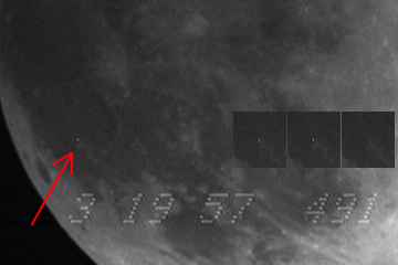 Image of unconfirmed lunar impact candidate Feb 20, 2008 during lunar eclipse